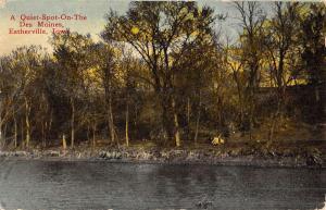 Estherville Iowa Des Moines River Waterfront Antique Postcard K50046