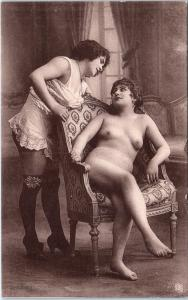 FRENCH NUDE Postcard 2 SEXY LADIES Lesbian Interest c1920s by Ponsard-Paris