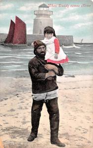 Scotland, UK Old Vintage Antique Post Card When Daddy comes Home Unused