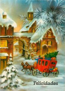 Horses carriage winter fantasy Felicidades greetings Argentina postcard
