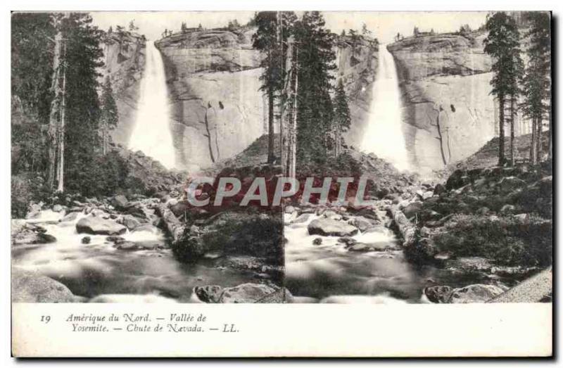 Stereoscopic map - USA - North America - Vallee Yosemite - Old Postcard