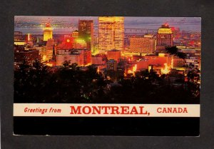 PQ QC Greetings From Montreal Quebec Canada Carte Postale Postcard Night View