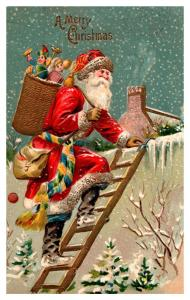 Santa Claus Red Robe ,  Climbing Ladder, Delivering  Toys