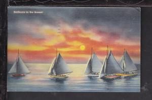 Sailboats in the Sunset Postcard