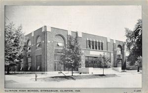 Clinton IN~Art Deco High School Gymnasium~Wayne Publishing Gray Border 1940s