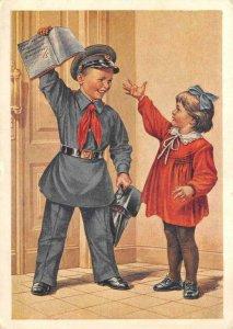 еще пятерка! 1954 Russian Children Art Soviet Union Vintage Postcard
