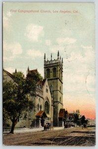 Los Angeles California~First Congregational Church & View Down Main Street~1908