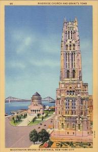 Riverside Church And Grant's Tomb Washington Breidge In Distance New York Cit...