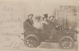 RP: CHICAGO , Illinois , 1907 ;  Riverview Park , People in car Photo prop