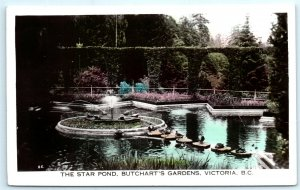 VTG RPPC Real Photo Canada Star Pond Butchart Gardens Victoria BC Sutton A2