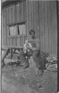C-1910 Young Father Child Rural Life Cabin RPPC Photo Postcard 12953
