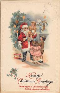 D92/ Santa Claus Merry Christmas Postcard 1921 Miamisburg Ohio Kids Gold 15