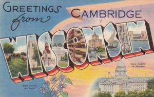 Wisconsin Greetings From Cambridge Large Letter Linen 1944
