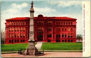 Davenport, Iowa Postcard High School and Soldiers' Monument 1908 Cancel
