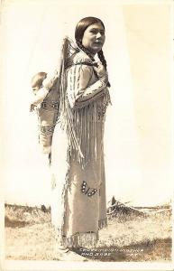 Crow Indian Mother and Babe Papoose RPPC Postcard