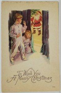 Christmas Santa at Tree Children Peeking behind Curtains Postcard R16