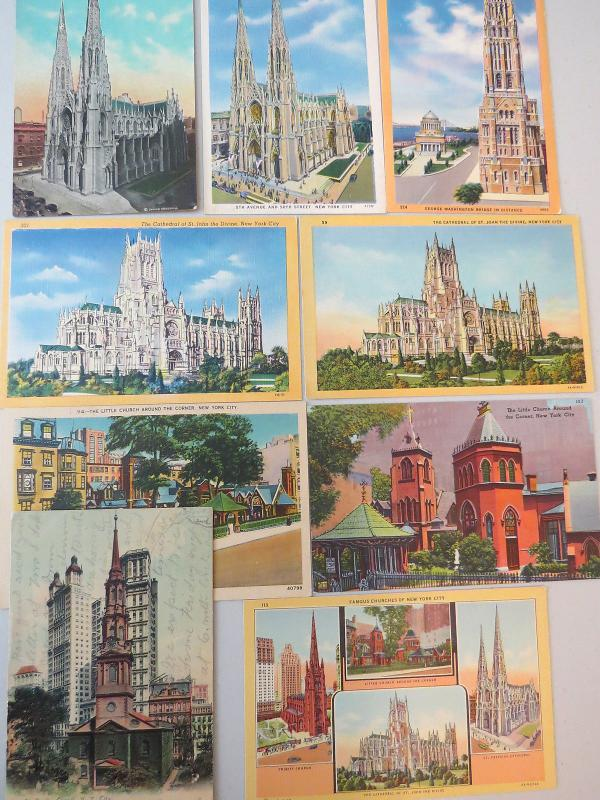 WELL KNOWN FAMOUS CHURCHES OF NEW YORK CITY LOT of 9 VINTAGE POSTCARDS