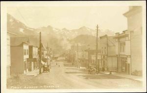 Cordova, Alaska, First Avenue, Cars (1920s) RPPC