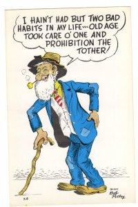 OVERSIZE Cartoon, Very Old Man 1952 Vintage Bob Petley Humour 5 1/2  X 8 1/2  in