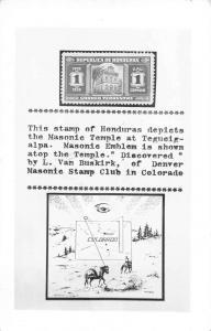 Denver Colorado Stamp Club Honduras Masonic Temple Real Photo Antique PC J44862