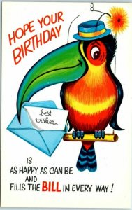 Vintage 1950s BIRTHDAY Greetings Postcard Toucan Bird Comic Religious Scripture
