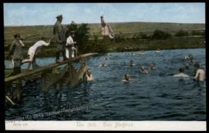 Germany Austria WWI Army Bathing in River Patriotic Gloria Viktoria PPC 66382