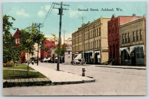 Ashland Wisconsin~Second Street Storefronts~Delivery Wagons~Fire Hydrant~c1910