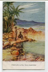 Child Life in The New Hebrides Rock Pools Beach Vanuatu postcard