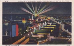 Night View Of World'Fair Graound From Observation Polatform Of Sky Ride Chica...