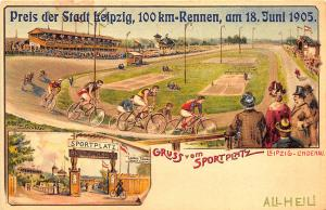 Leipzig Germant Grus Aus 1905 Bicycle Race Sportplatz Postcard