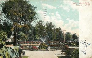 Rochester NY~Jones Park~Fountain Spray~Little Girl on Ledge~1907 Postcard
