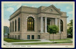 Terrell Texas tx First Baptist Church 1930s postcard