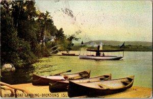 Steamboat Landing Dicksons Island Rangeley Lake Maneskootuk c1906 Postcard T31