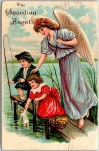 Vintage 1910s GUARDIAN ANGEL Embossed Greetings Postcard Fishing Boy & Girl Doll