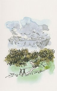 Rambling on Hampstead Heath in Winter London Painting Postcard