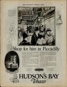 1924 Hudso's Bay Tobacco Vintage Print Ad 3944