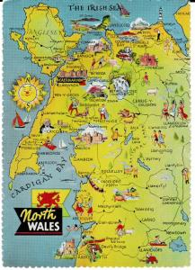 postcard map of NORTH WALES Dennis Newcolour unposted