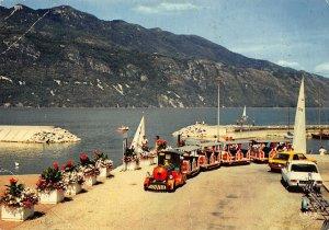 France Aix les Bains Au Grand Port Tourist Train Vintage Cars Postcard