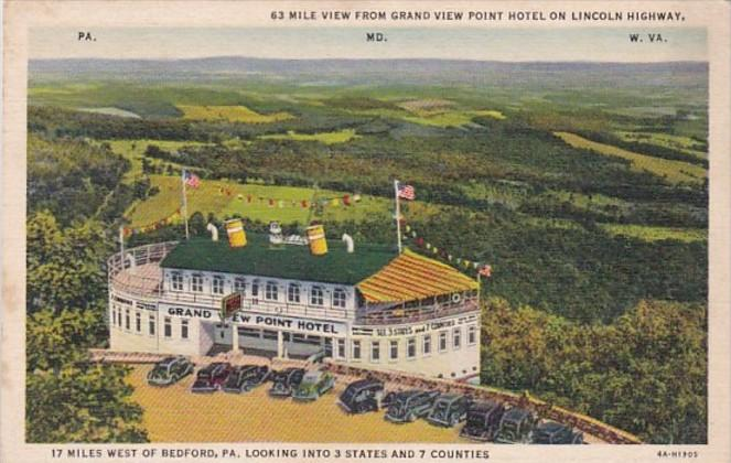 Pennsylvania Bedford 63 Mile View From Grand View Point Hotel On Lincoln High...