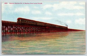 Salt Lake City~Eastern Express Railroad Train~Trestle Lucin Cut-Off~c1910 PC