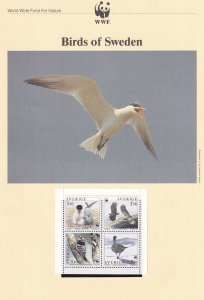 Swedish Sweden Birds WWF Stamps and Set Of 4 First Day Cover Bundle
