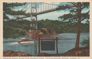 Thousand Islands Bridge from Georgina Island, Ontario, Canada - pm 1958 - WB