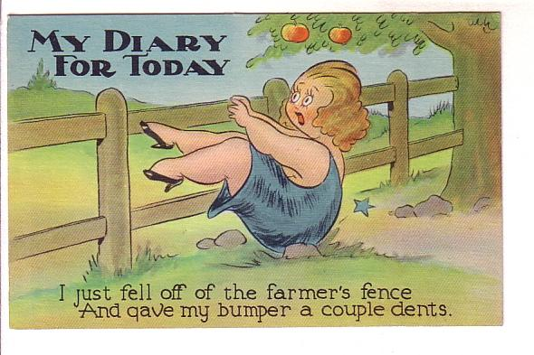 Cartoon, Overweight Woman Falling Off a Farmer's Fence, My Diary For Today, V...