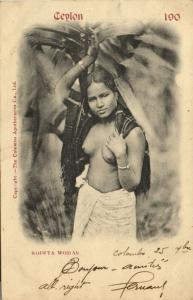 ceylon, Beautiful Young Rodiya Girl between Leafs (1908)