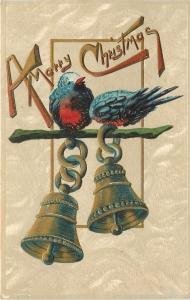 Christmas~Blue Red Breast Birds on Swinging Bronze Bells~Gold Emboss~Germany '09