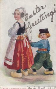 EASTER;Greetings, Dutch Mother and son holding hands, Glitter detail, 00-10s