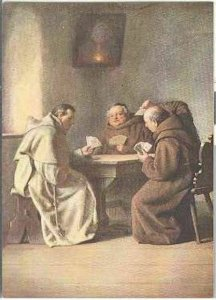 pc2716 postcard Monks Card Game No. 708 MOBSC Not used