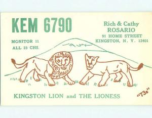 Lion - Qsl Ham Radio Card Kingston New York NY t0893