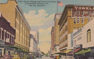 Florida Orlando Corner Of Orange and Central Avenues Curteich sk375