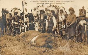 Geronimo Carving Buffalo Meat For His Indians in 1909 Real Photo Postcard